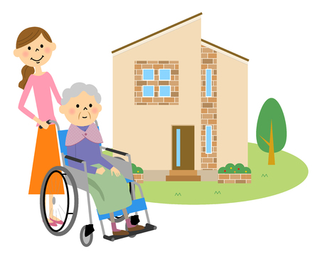 sick kind: Elderly people sitting in a wheelchair with my home Illustration