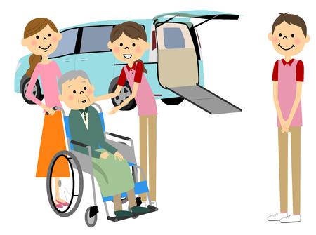 Welfare vehicles and elderly people Stock Illustratie