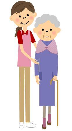 sick kind: Walking elderly people, nursing care