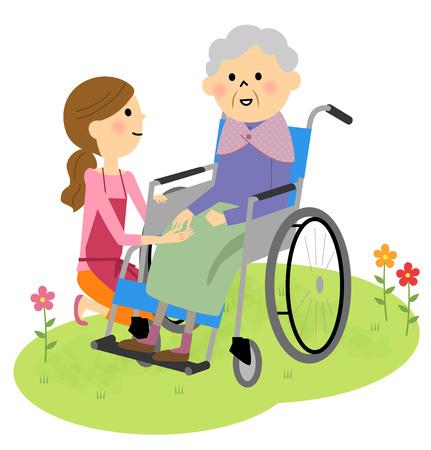 Elderly people sitting in a wheelchair