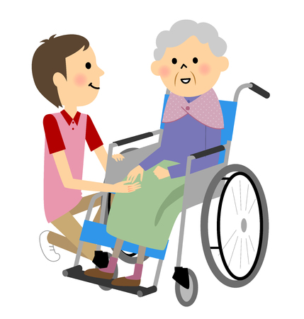 goodness: Elderly people sitting in a wheelchair