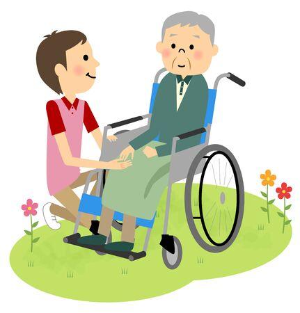 sick kind: Elderly people sitting in a wheelchair