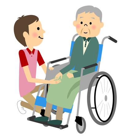 車椅子に座っている高齢者