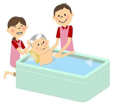 高齢者介護、水浴びをする