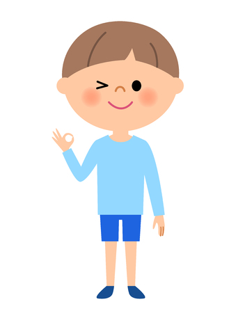 Young boy, Ok Sign Illustration