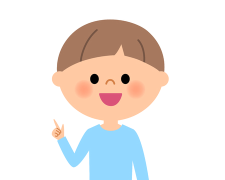 Young boy, Finger pointing Illustration