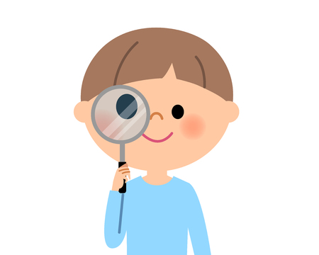Young boy, I look into the magnifying glass Illustration