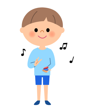 It is an illustration of a boy clapping castanet. Illustration