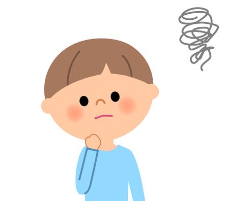 Young boy, IBe worried 向量圖像