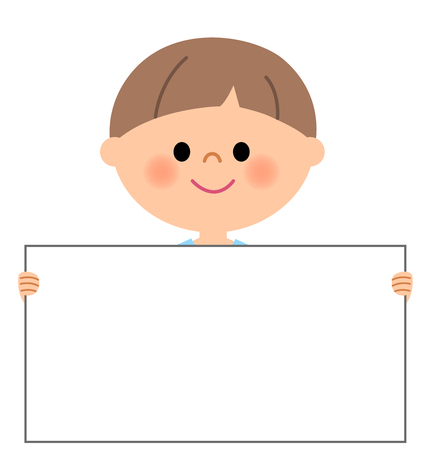 Young boy, Holding a white board