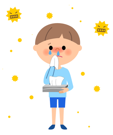 baby sick: Young boy, Hay fever