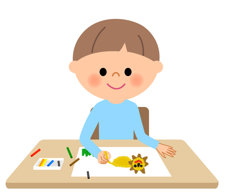 Young boy, Drawing Illustration