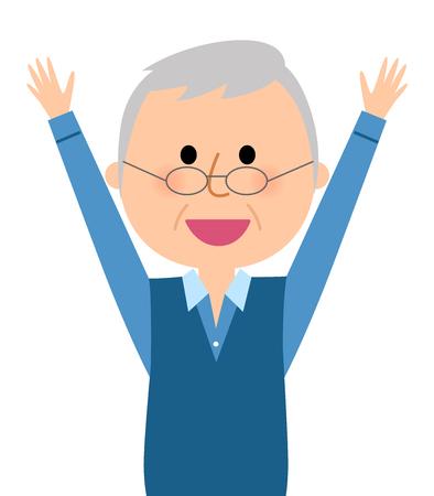 The elderly man who raises his hands.