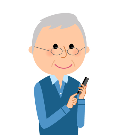 Elderly men who operate smartphones