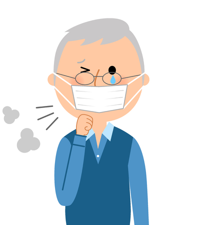 hair mask: A senior citizen with poor physical condition Illustration