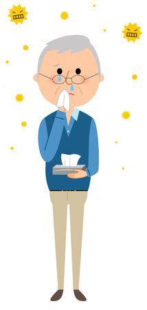Elderly men with hay fever Illustration