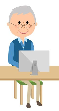 old pc: Elderly men who operate personal computers
