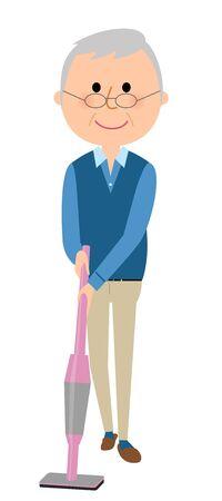 高齢者男性真空掃除機を使用して  イラスト・ベクター素材