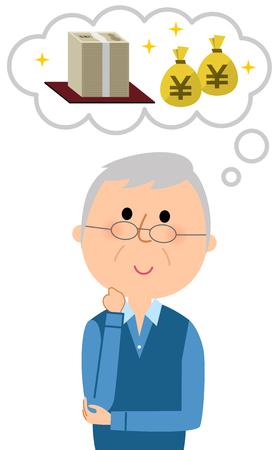 An elderly man who imagines money