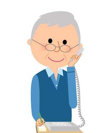Elderly men talking on the phone