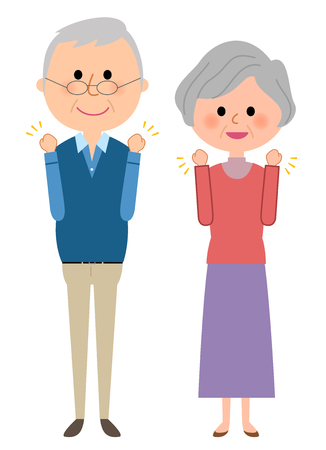Elderly couple doing Victory pose
