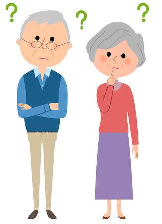 Elderly couple feeling in doubt