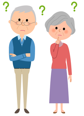 Elderly couple feeling in doubt