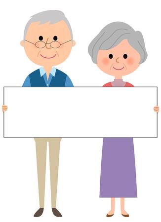 ホワイト ボードと老夫婦  イラスト・ベクター素材