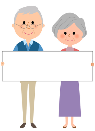 Elderly couple with whiteboard