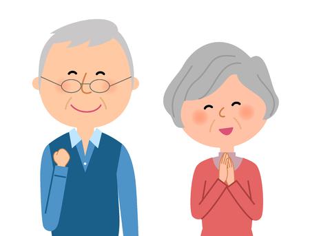 Happy elderly couple Stock Illustratie