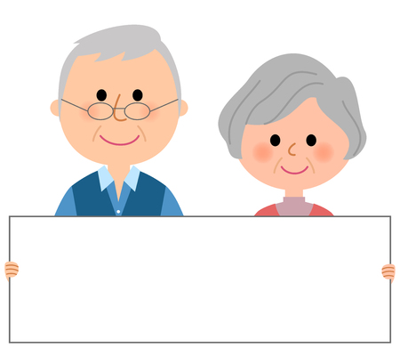 cuddling: Elderly couple with whiteboard