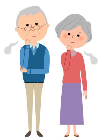 cuddling: A sighing elderly couple