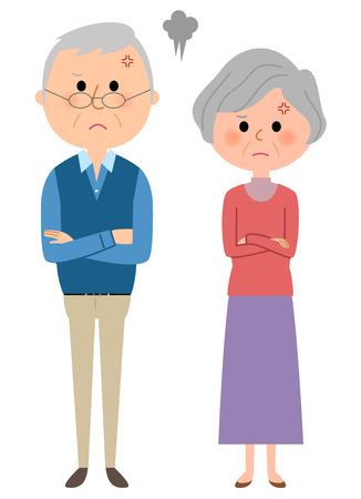 Angry elderly couple