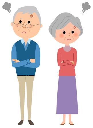 Elderly couple quarreling
