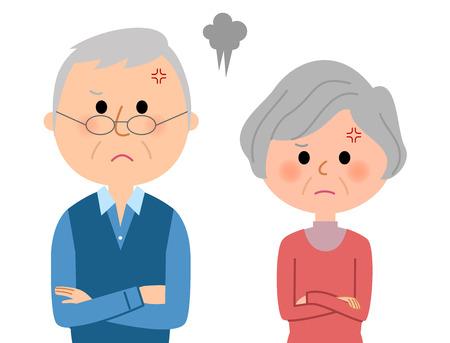 Angry elderly couple