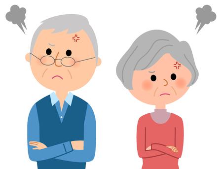 Ouderenpaar twistend