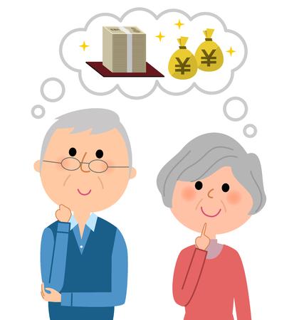 An elderly couple imagining a big money