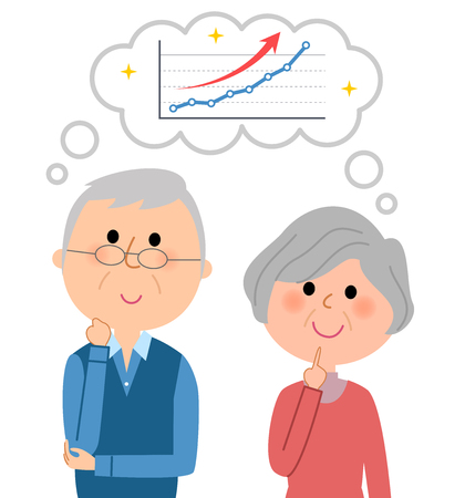 An elderly couple who imagines rising right  イラスト・ベクター素材