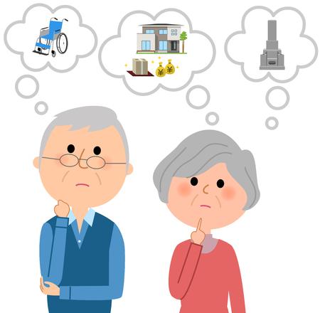 Una pareja de ancianos imaginando un plan de vida