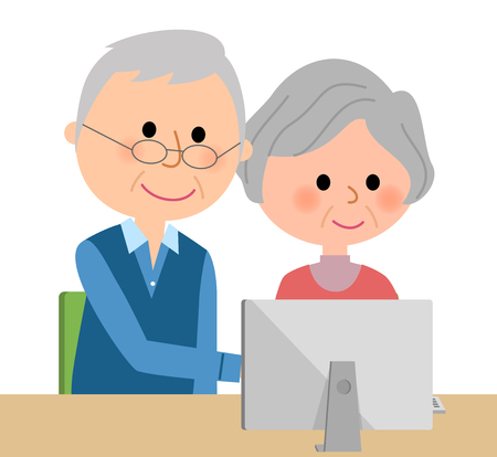Elderly couple operating a personal computer 向量圖像