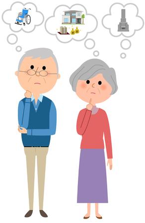 An elderly couple imagining a life plan