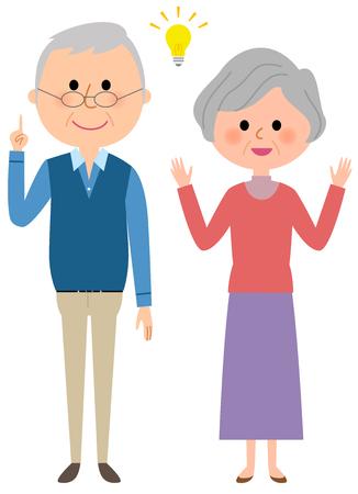 Elderly couple feeling inspiration Illustration