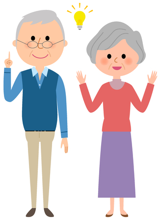 Elderly couple feeling inspiration Illustration