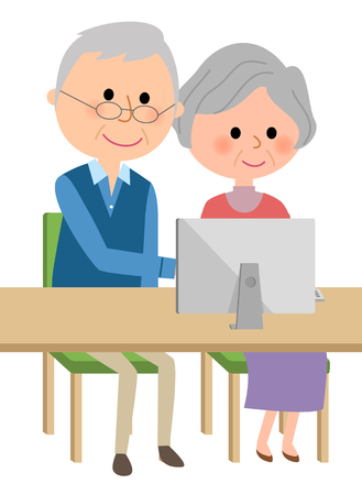 Elderly couple operating a personal computer 일러스트