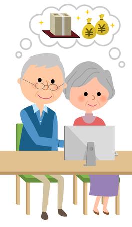 rich couple: An elderly couple imagining a big money
