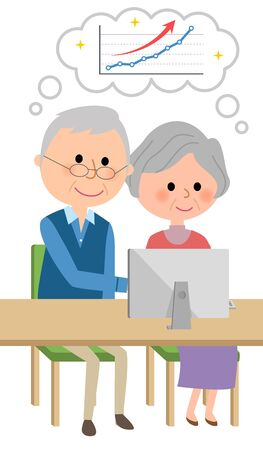 An elderly couple who imagines rising right Stock Illustratie