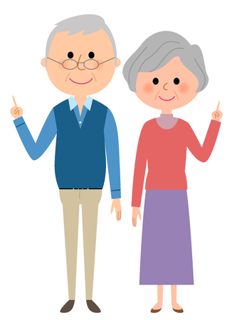 Elderly couple looking at their fingers Illustration