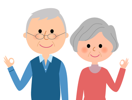 The elderly couple to the OK sign