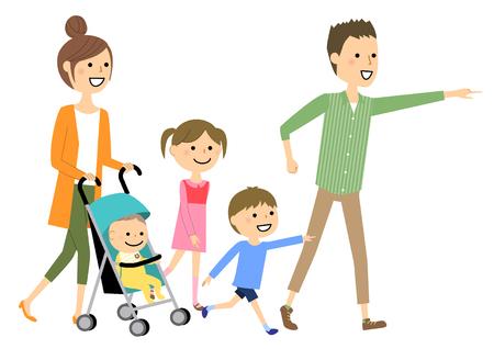 Walking family  イラスト・ベクター素材