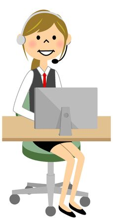 The female of the uniform who communicates while operating a PC